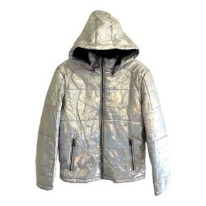 GUESS SILVER FOIL Quilted PUFFER Hooded JACKET
